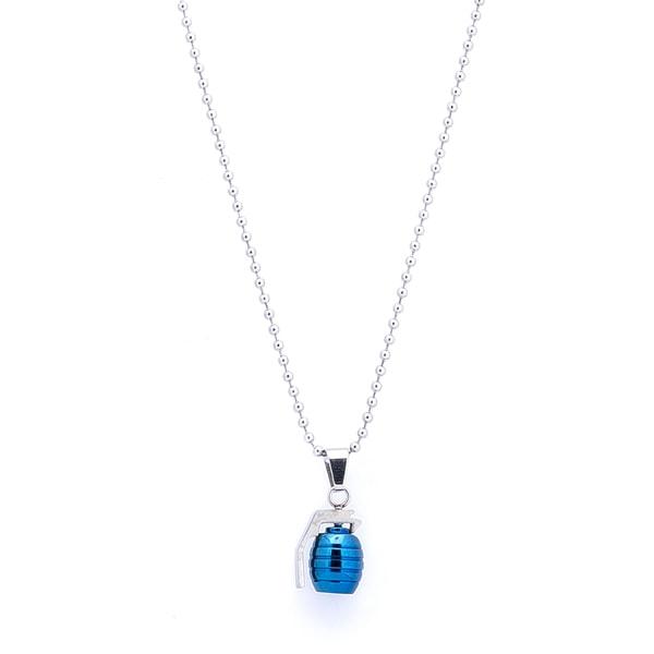 BLUE GRENADE PENDANT NECKLACE