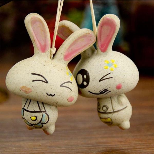 Smile Rabbit Ceramic Windbell